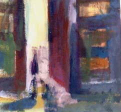 gegenlicht in der stadt, 1987, eitempera auf leinwand, 24x25 cm